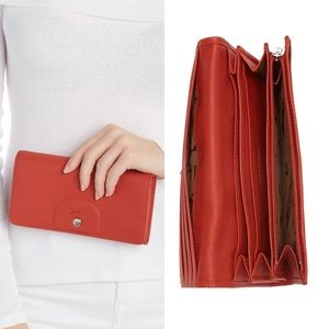 NWT Burnt Red Le Pliage Cuir Continental Wallet